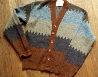 Brown Gray and Beige Wool Grandpa Sweater with Buttons!
