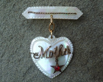 Mother Brooch Pin. Mother of Pearl. Dangling Heart & Star, Red Rhinestone. Vintage 1940s. Mother's Day Gift. Sweetheart Brooch. WWII Era.