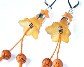 Morning Glory Earrings - Yellow Orange