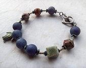 Denim Blue Bracelet, Lapis Bracelet, Matte Blue, Rustic