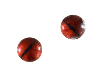 6mm Red Dragon Eye Glass Cabochons - Evil Eyes for Doll or Jewelry Making - Set of 2