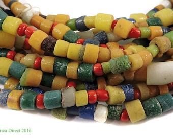 "5 Strands Krobo Beads ""Recycled"" Ghana Africa 34 Inch Each 107835"