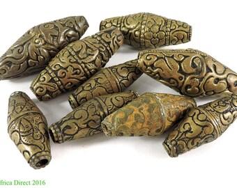 9 Tibetan Brass Repoussee Beads Loose 107055