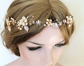 Gold Bridal Freshwater Pearl Hair Vine. Flower Crystal Boho Leaf Headpiece. Gold Mother Of Pearl Wedding Wreath Headband. PEARLESCENT.