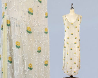 1920s Dress / 20s Cream BEADED Trellis Dress / Embroidered Daisies!