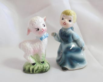 Vintage Enesco Mary Had a Little Lamb Nursery Rhyme Salt and Pepper Shakers