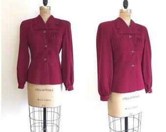 1940s Bishop Sleeve Burgundy Blazer Suit Jacket 40s