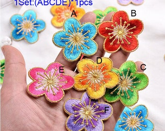 """15pcs 4.5cm 1.77""""  blue/green/purple/pink/red/yellow gold embroidery plum blossom appliques patches DS51VE1F124G free ship"""