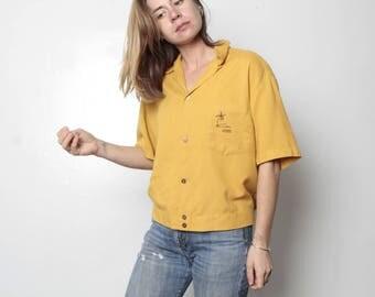 size medium HAWAIIAN vintage shirt PALM tree mustard yellow slouchy short sleeve ISLAND life