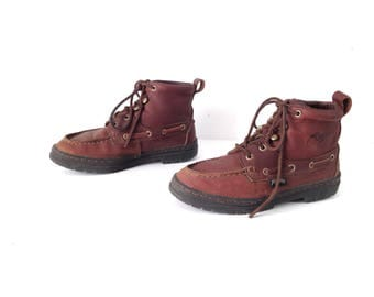 Size 8 women's grunge CHUKKA 80s 90s Brown LEATHER ankle boot shoes