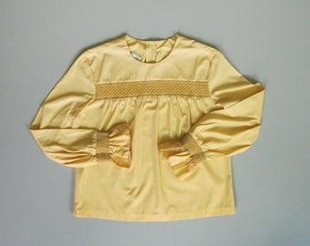 Vintage 1960s Smocked Blouse. 60s Yellow Cotton Blouse. 60s Jo Matthews Long Sleeve Blouse.  Large XL