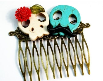 SALE Skull Hair Comb, Sugar Skull Hair Clip, Frida and Diego Sugar Skull Hair Comb Mustache Red Rose Day of the Dead Wedding Jewelry