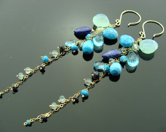 Aqua Blue Chalcedony Lapis Turquoise Cascade 14K Gold Filled Long Earrings