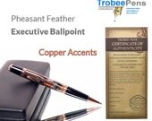 Custom Feather Pen with Copper executive ballpoint. Great gift for a man or woman best handmade pen ball point in crystal clear acrylic