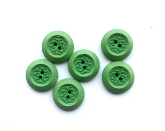 6 Green Vintage Buttons, 17mm
