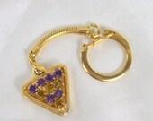On Sale Vintage Rhinestone Keychain Purple Amethyst Yellow Citrine Glass Gold Tone Snake Chain