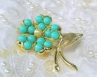 Spring Special Sale Vintage Sarah Coventry Brooch Pin AQUA FLEUR Turquoise Beads Faux Pearl Gold Tone