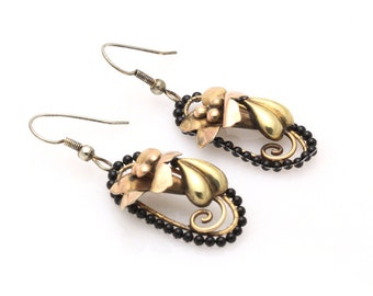 Hand Woven Black Onyx Earrings with Flowers