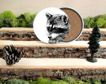 Raccoon Coaster Set - Home Decor - Gift for Animal Lover or Outdoorsman - Cork-Bottom Coaster Set of 4 - Raccoons - Bandits