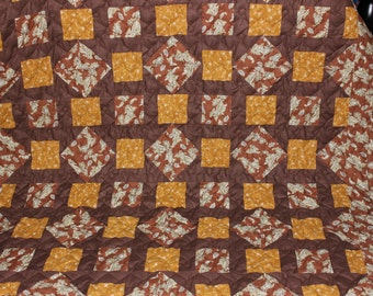 Churn Dash Quilt - Lap Quilt -  Brown and Gold Quilt - Rustic Quilt - Paisley Quilt Fabric- Handmade Throw Size Quilt - READY TO SHIP!!!