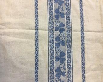 table cloth  white background blue border vintage family table clover irish