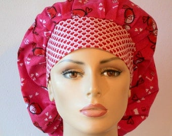 Medical Bouffant Scrub Hat - Love Birds and Hearts All Over All Over with a Matching Headband Scrub Hat