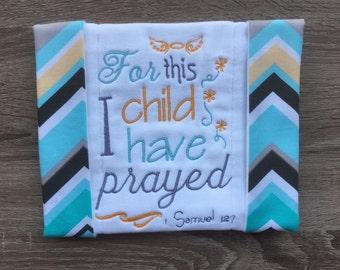 Baby burp cloth and bib, religious burp cloth, religious bib, embroidered burp cloth, cute burp cloth, cute bib