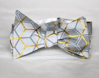 Bowtie in Gold Gray Hexagons - Groomsmen and wedding tie - clip on, pre-tied with strap or self tying