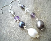 Pearl and amethyst mismatch earrings: My Real Name | Long earrings | Unmatched earrings | Pearl amethyst earrings | Sterling silver earrings