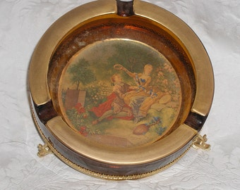 Vintage Glass Ashtray With 18th Century Picture Gold Rim On Gold Dolphin Stand