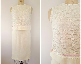 Vintage 1960s Ivory Lace Blouse and Skirt Set / Linen Skirt / Small Medium