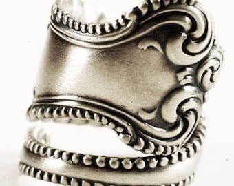Silver Victorian Ring, Florentine Milgrain Ring, Sterling Silver Spoon Ring, Towle Sterling Canterbury ca 1893, Adjustable Ring Size (6169)