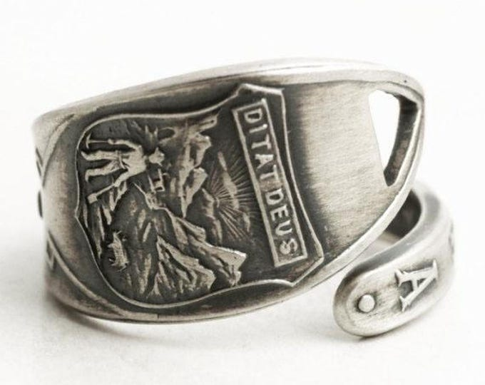 Petite Arizona Sate Ring, Sterling Silver Spoon Ring, Miner Ring Ditat Deus, Unique Gift, Hand Forged Ring Gift, Adjustable Ring Size (6532)