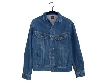 Vintage LEE Riders Dark Blue Denim Classic Jean Jacket, Made in USA -