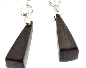 Wooden earrings black oak