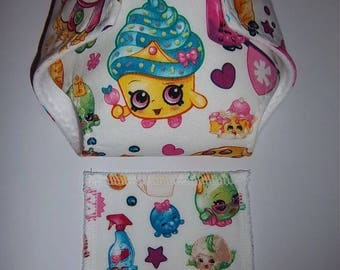 Baby Doll Diaper/wipe - popular collectible characters - adjustable for bitty baby and 15/16 dolls