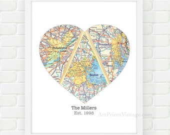 Heart Map Art, Birthday Gift for Mom, Gift for Wife, Mothers Gift, Personalized Mothers Day Gift, Unique Mom Gift for Parents Map Print