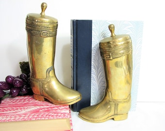 Brass Bookends, Equestrian Riding Boots, Vintage Pair, Set of 2, Textured Solid Brass Boot ... English Hunt Boots, Tall Dressage Dress Boots