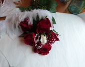 Reserved White feather red and creme white rose bouquet and boutonniere set