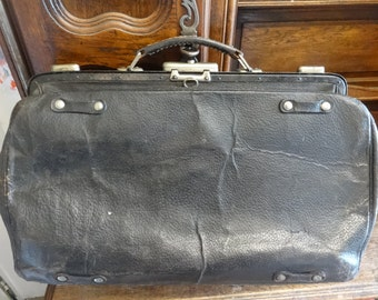 Vintage French Large Thick Leather Doctors Bag Case circa 1930-50's / English Shop