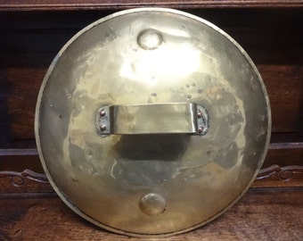 Antique French large brass saucepan cooking pot handled lid top circa 1900's / English Shop