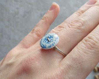 Blue Floral ring, button rings, gift for her, womens fashion, affordable ring, handmade, valentines day gifts, gift for girlfriend, promise