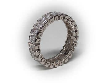 Sterling Silver Diamond Simulant Eternity Ring