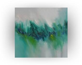 Abstract Original Modern Acrylic Wall Decor Green Blue Painting Art - Envy - 36 x 36 - Large Painting - Skye Taylor