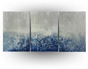 Modern Abstract Triptych painting Acrylic Palette knife Blue and White Minimalist  - Chicago Blues - 24 x 54 - Skye Taylor