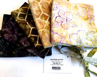 Batik Fabric Bundle  5 One Yard Pieces  Purple Brown Assortment Quilting Weight Cotton Fabric  Mixers Stash Builder Quiltsy Destash SALE