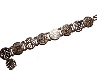 Victorian Sterling Silver Export Chinese Characters & Dragon Linked Bracelet #2219