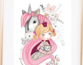 Art Print, wall art for kids room, Kids room art, Girls bedroom wall art, kids room decor, princess art , nursery