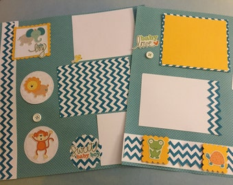 Baby boy scrapbook pages  premade pages baby boy   baby boy album   12 by 12    scrapbook