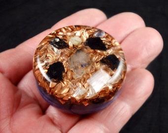 Orgone Generator. Orgonite® with Tibetan Crystal, Phenacite, Petalite, Selenite, Rhodozite, Elite Shungite, Tourmaline, Silver Powder (w3)